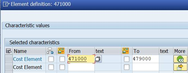 Row: cost element interval - more