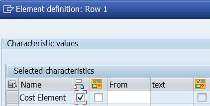 Row: Cost Element Set