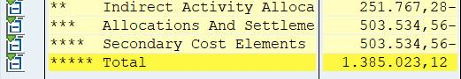 Row: cost element set -explode