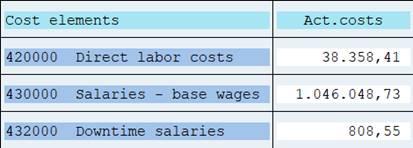 Row: cost element set -single values