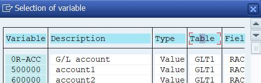 Row: selection of variable