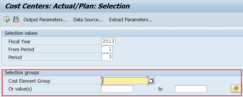 Report Selection parameters OAS_EXT