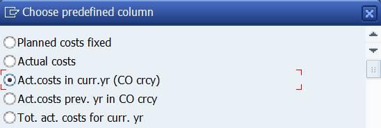 predefined column: actual cost curr.yr.