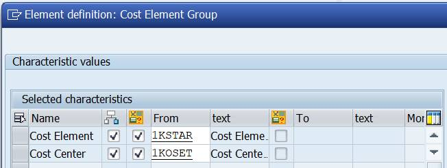 Row: cost elements, cost centers