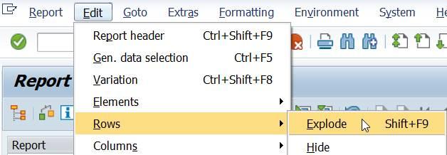 Menu: Edit / Rows