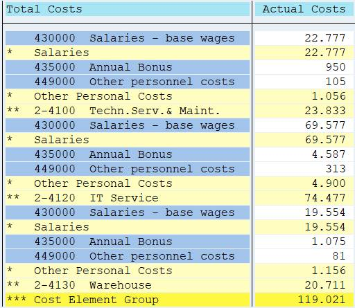 cost center / cost element report