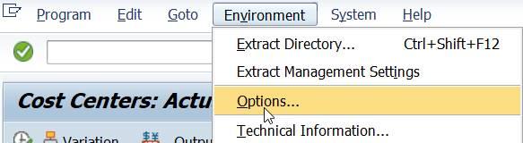 Menu: Environment Options