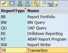 Report/report type TR