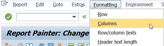 menu formatting columns