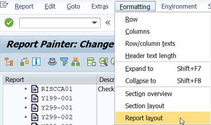 menu: formatting report layout