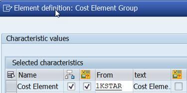 cost element group 1KSTAR
