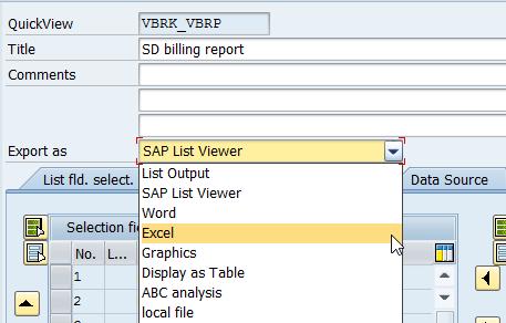 SAP SQVI output format